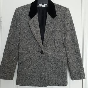 Jones  New York Tweed & Velvet collar Blazer  6